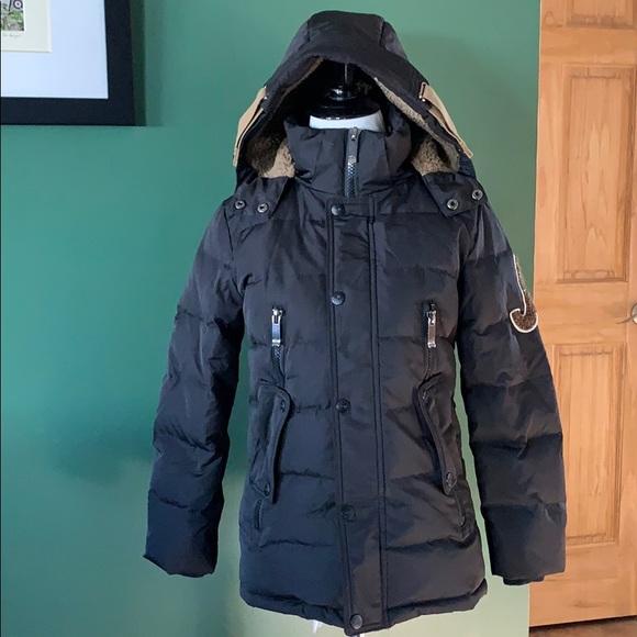 Balaboshitong boys black hooded puffer coat